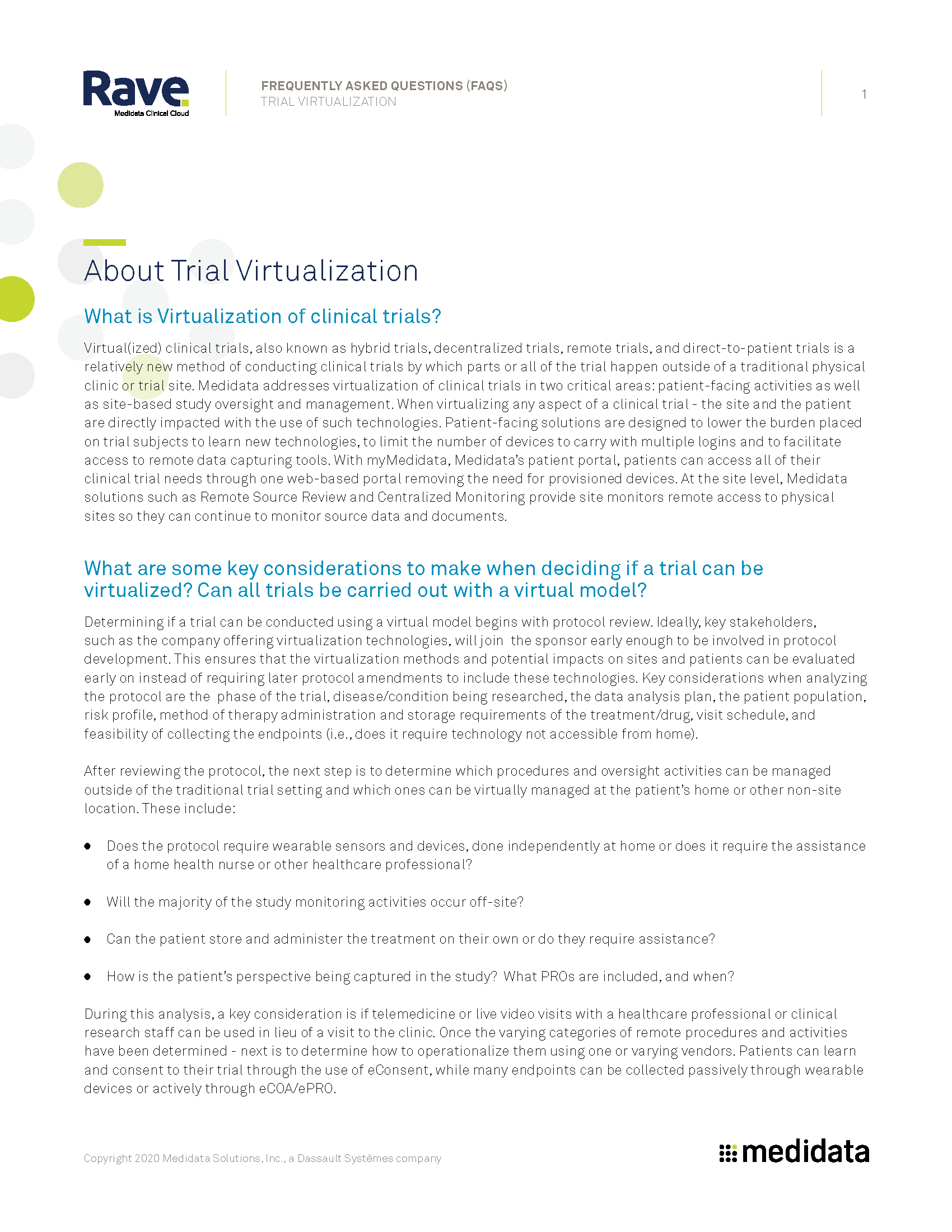 Virtualization of Trials FAQ